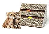 Old Tjikko Cat Scratch Pad - Triangle Scratcher with Catnip - Scratching Posts - Cat Toy Scratch Board Lounge with Bell-Ball (11'' x 9.4'' x 7'')
