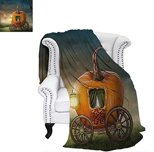 Throw Blanket Abstract Fairytale Image with Orange Pumpkin Fictional Scenery Princess Ella Image Velvet Plush Throw Blanket 80