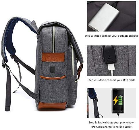 Vintage Slim Laptop Backpack with USB Charging Port for Men Women Fit 14 Laptop Blue