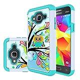 Galaxy J3V Case, Galaxy J3 Case, MicroP Dual Layer Silicone Armor Defender Phone Case for Samsung Galaxy J3 / J3 V, Galaxy Sol / Sky, Amp Prime, Express Prime (Armor Green Owl)