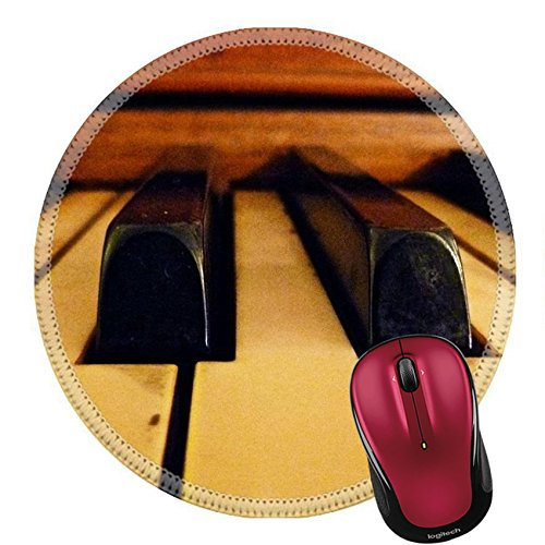 Liili Round Mouse Pad Natural Rubber Mousepad A close up view of the piano keys Photo - Round Ebony Big
