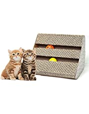 Old Tjikko Cat Scratch Pad,Scratcher with Catnip,Scratching Posts,Cat Toy Scratch Board Lounge with Bell-Ball (11'' x 9.4'' x 7'')