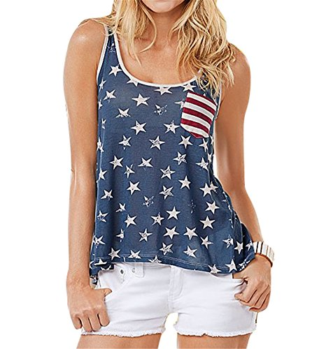 Growing Wild Womens Stylish American Flag Patriotic Bowknot Backless Tank Top