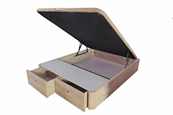 COTINO - Canapé abatible madera con cajones frontales 150/190 Natural-roble: Amazon.es: Hogar