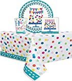 Confetti Cake Themed Birthday Party Set Serves 16 Guest - One Confetti Cake Birthday Plastic Tablecloth, 84'' x 54'' 16 Plates 9'' 16 Cups 9'' and 16 Napkins (Confetti)