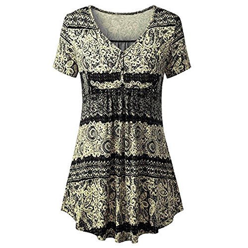 Respctful ♫♫Women Short Sleeve Floral Henley V Neck PleaCasual Flare Tunic Blouse Shirt for Boho Round Neck Yellow