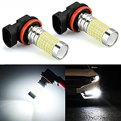 JDM ASTAR 1200 Lumens Extremely Bright 144-EX Chipsets H16 TYPE 2 (with 90 degree angle) LED Bulbs with Projector for DRL or Fog Lights, Xenon White