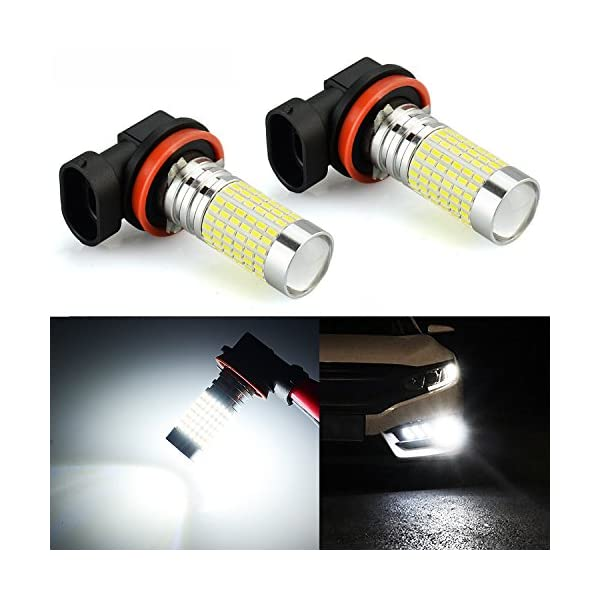 JDM ASTAR 2400 Lumens Extremely Bright 144 EX Chipsets H11 LED Fog Light Bulbs With Projector For DRL Or Fog Lights, Xenon White