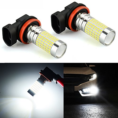 - JDM ASTAR 2400 Lumens Extremely Bright 144-EX Chipsets H11 LED Fog Light Bulbs with Projector for DRL or Fog Lights, Xenon White