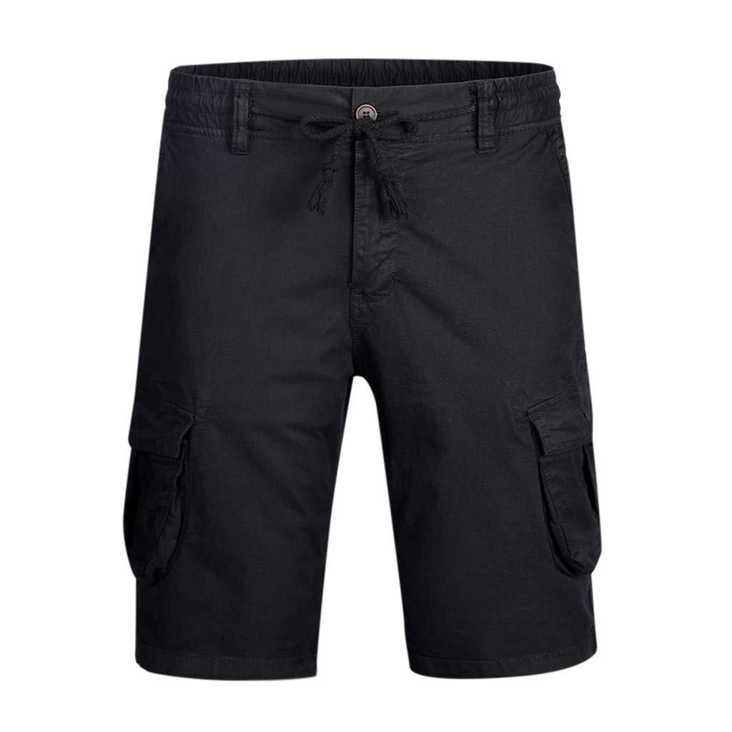 Vovotrade Pantaloni Corti Cargo Pantaloncini Uomo Cotone Lavoro Pantaloni Tasconi con Elastico Pantofole Uomini Estive Casual Pantaloncino Sportivi