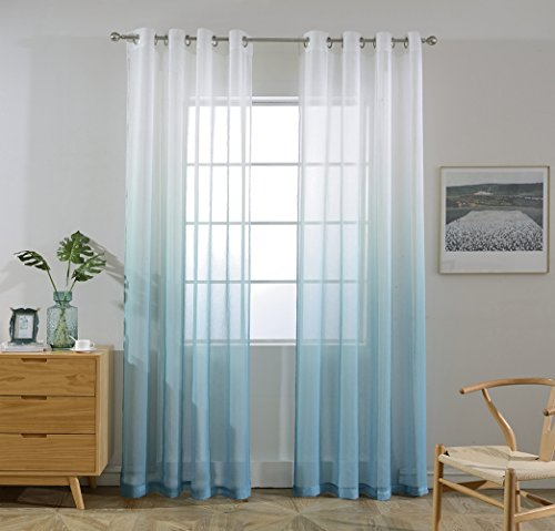 DEZENE Ombre Linen Texture Sheer Curtains for Living Room - Set of 2 - Nickle Grommets Window Treatment Voile Tull Draperies - 52 Inch Width x 96 Inch Long (Total 104