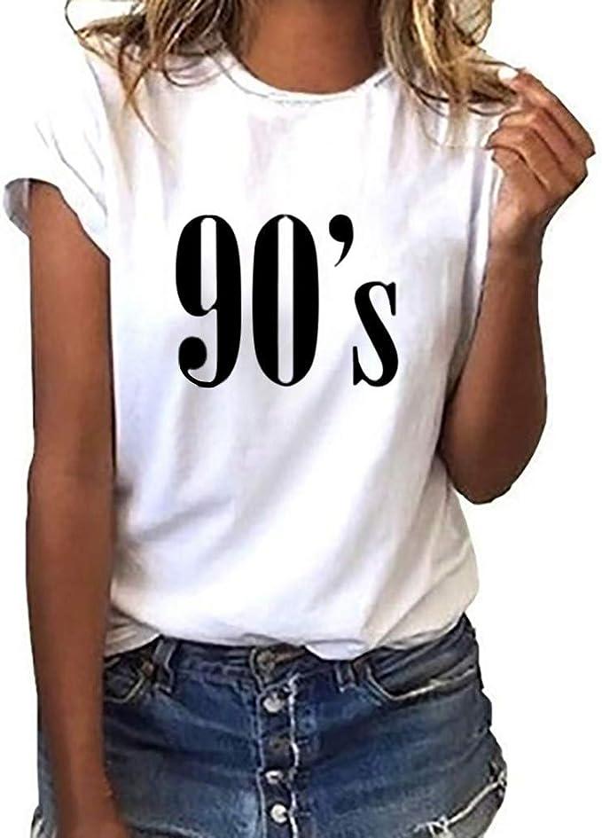 Ilpm5 Damen Mode Grosse Grosse 90er Jahre Drucken T Shirt Beilaufige