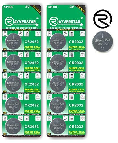 Rayverstar CR2032 3V Lithium Battery 10-Pack (2 x 5-Pack), Super Cell Technology, Long Lasting 3-Volt Batteries. Fits: BR2032, DL2032, SB-T15, EA2032C, ECR2032