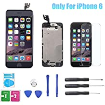 for iPhone 6 4.7inch LCD Display Screen Touch Digitizer Full assembly Replacement with Home Button, Front Camera, Ear Speaker, Repair Tools, Not compatible with iPhone 6s or iPhone 6 plus