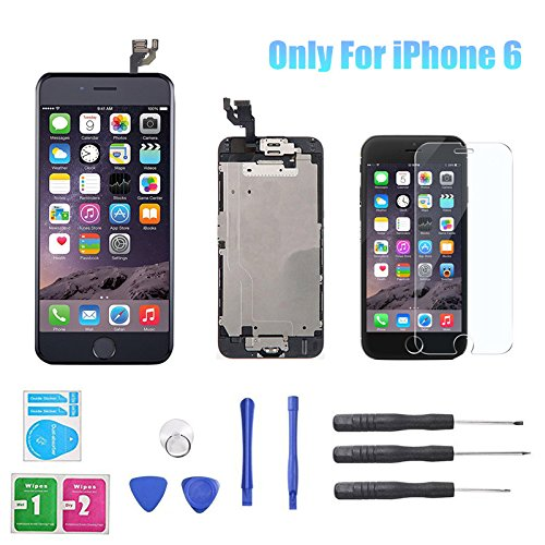 for iPhone 6 4.7inch LCD Display Screen Touch Digitizer Full assembly Replacement with Home Button, Front Camera, Ear Speaker, Repair Tools, Not compatible with iPhone 6s or iPhone 6 plus (Replacement Full 6 Screen Iphone)