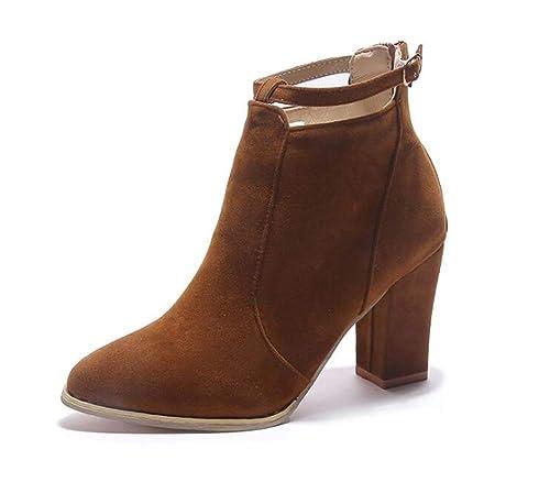 Botas de Gamuza para Mujer Zapatos de Tobillo Tacón Alto Medio Botines de Moda de otoño: Amazon.es: Zapatos y complementos