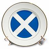 3dRose cp_158423_1 Flag of Scotland Scottish Blue with White Saint Andrews Cross Saltire Scots UK United Kingdom Porcelain Plate, 8-Inch