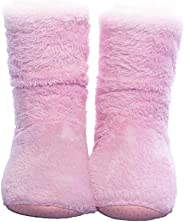FRALOSHA Women's Booties Slippers Indoor Super Soft Warm Cozy Fuzzy Lined Slipper Boots with Anti-Slip Slipper Socks