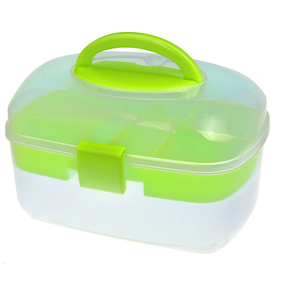 uxcell Oval-Shaped Empty Nail Art Makeup Cosmetic Tool Container Storage Box Clear