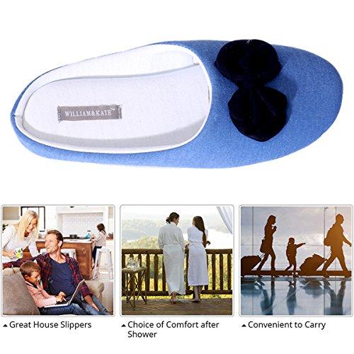 Pantofole Di Cotone Delle Donne Di William & Kate Pantofole Di Stile Giapponese Pantofole Antiscivolo Accoglienti Pantofole Di Inverno Casuali Delle Coppie Pantofole Di Fondo Morbide Interne Blu