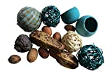 From The Attic Crafts RagBall, Twig Balls, Pods, Seeds Bowl Filler Set Auqa Tan 11 Pieces