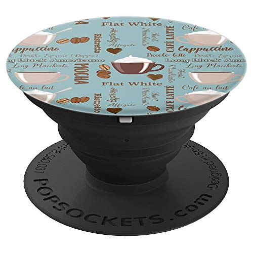 Cute Coffee Pattern Mocha, Cafe Latte Coffee Lover Gift . - PopSockets Grip and Stand for Phones and Tablets