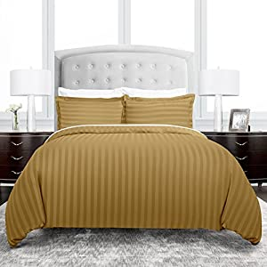 Beckham Hotel Collection Dobby Striped Duvet Cover Set - Luxury Soft Brushed Microfiber with Matching Shams - Hypoallergenic - King/California King - Gold