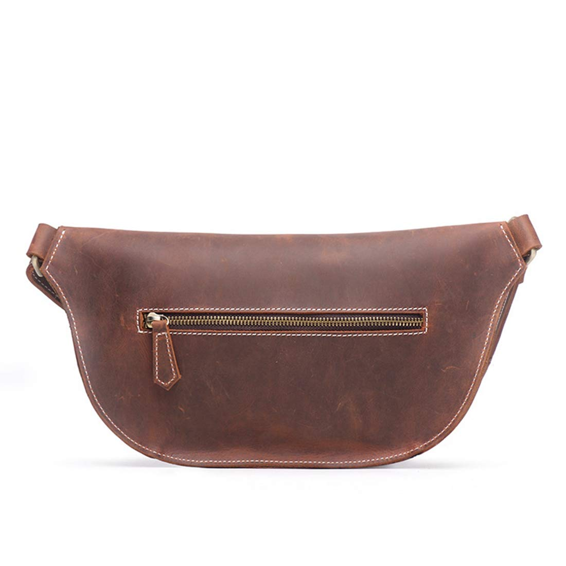 Carriemeow Mens and Womens Leather Pockets Chest Shoulder Messenger Bag Color : Retro Brown