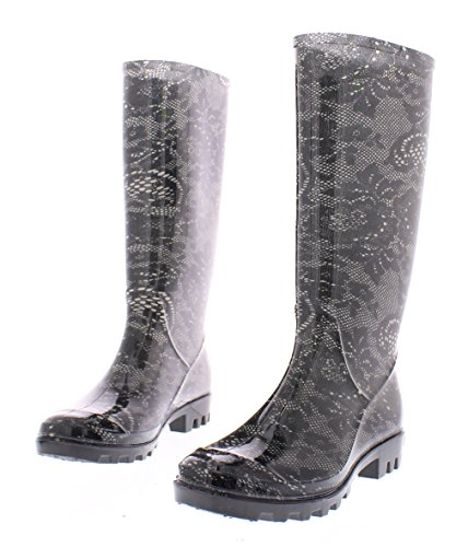 Marilyn Monroe Womens Basic Tall Rainboot Shoes, Waterproof Jelly Rubber Boots Jelly Rubber Boots Black Lace