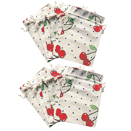 80Hou 12Pcs Cherry Burlap Gift Bag Drawstring Cotton Linen Flower Jewelry Candy Pouch Wedding Party Sacks-Cherry