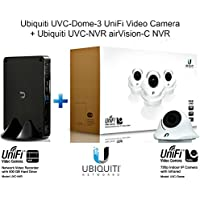 Ubiquiti UVC-Dome-3 UniFi Video Camera 3-Pack + Ubiquiti UVC-NVR airVision-C NVR