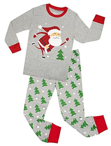 Kids Pajamas Hop Boys Cotton Christmas Pajamas Childrens Santa Claus Sleepwear Clothes Set (Grey,3T)]()