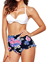 Women Vintage Swimsuits Bikinis Bathing Suits Retro High Waisted Polka Underwired