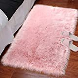 LOCHAS Silky Soft Faux Fur Sheepskin Rug 2'x3', Fluffy Bedside Rugs for Bedroom Thick Floor Wool Carpet, Machine Washable, Pink