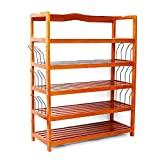 Mallmall 5-Tier Wooden Shoe Rack Shelf Storage Organizer Entryway Home Utility Storage Shelf Stand Organizer Rack Furniture