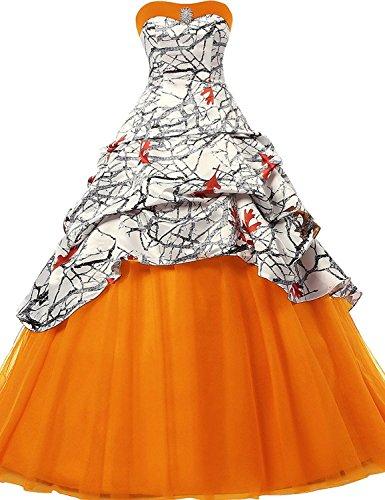 Arancione sposa spalline Senza Lungo Abiti da da ballo Abiti sera JAEDEN Vestito da Tulle wx1IO1