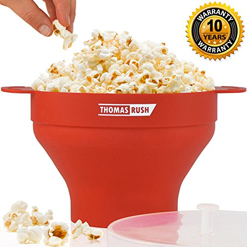 Premium Microwave Popcorn Popper by Thomas Rush - One of the Best Microwave Popcorn Makers for Home - Easy to Use - Healthy Choice - 100% Platinum Silicone - 10 Year Warranty (Butter Machine For Popcorn compare prices)