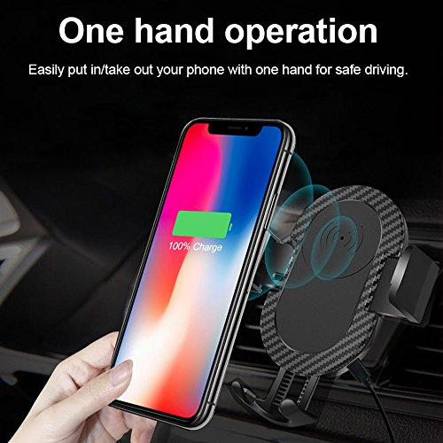 Wireless Car Charger, 2 in 1 10W Fast Wireless Charger Air Vent & Bracket Phone Holder for iPhoneX/8/8 Plus, Samsung Galaxy S9/S9+/Note 8/S8/S8 Plus/S7/S6 Edge All Qi Enabled. by DRTJ (Image #2)