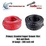 10 GAUGE WIRE RED & BLACK POWER GROUND 50 FT EACH PRIMARY STRANDED COPPER CLAD