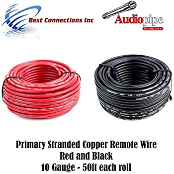 Amazon 10 gauge silicone wire 10 feet 10 awg silicone wire 10 gauge wire red black power ground 50 ft each primary stranded copper clad keyboard keysfo Image collections