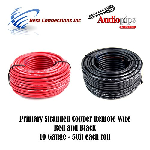 (10 GAUGE WIRE RED & BLACK POWER GROUND 50 FT EACH PRIMARY STRANDED COPPER)