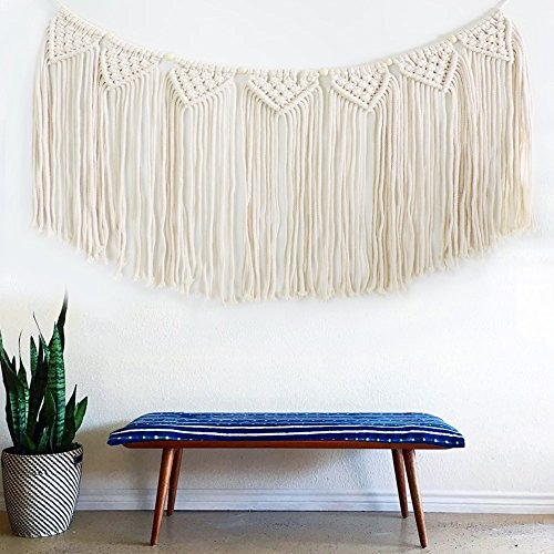 Hanging Bead Fringe (Macrame Woven Wall Hanging Tapestry Fringe Garland Banner BOHO Chic Bohemian Wall Decor 15