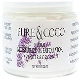 Moisturizing Exfoliator (sugar scrub) by Pure & Coco   Face Wash, Makeup Remover, Shaving Oil + All Natural, Vegan, Coconut Skin Care + Lavender & Coconut, large 22 oz jar Review