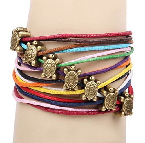 Leather Store Colorful Rope Weaving Ancient Metal Turtle Beads Bracelet]()