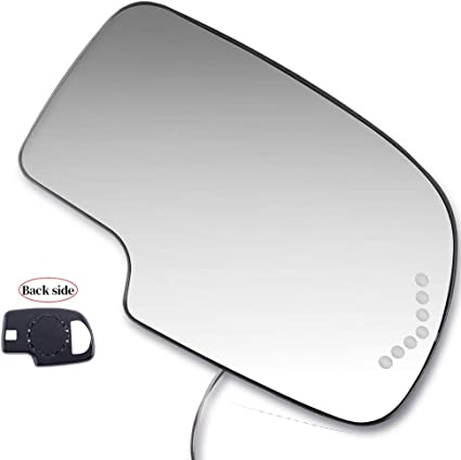 LUJUNTEC Right Side View Mirror Glass Fits for 2003-06 GMC Sierra 3500 2000-05 GMC Yukon XL 1500 2500 2003-06 Chevy Silverado 1500 Heated Turn Signal Convex 88944392 GM1325102