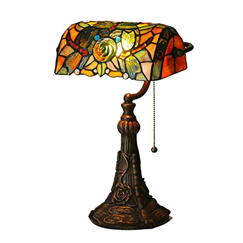Bieye L10308 10-inches Dragonfly Tiffany Style Stained Glass Banker Desk Lamp, Table Lamp (Brown) (Dragonfly Green Table Tiffany)