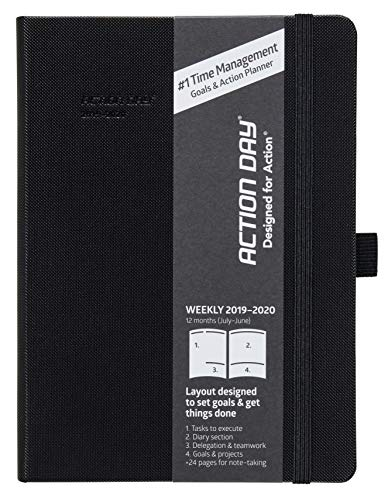 2019-2020 Academic Planner by Action Day - #1 Time Management Design & You Get Things Done, Inner Pocket, Pen Loop, Thick Paper, Note-Taking, Weekly, Daily, Monthly (6x8, Thread-Bound, Black)
