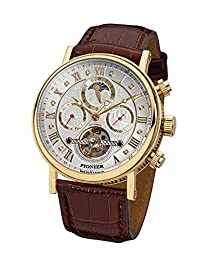 """Pionier - high quality automatic wrist watch Chicago """"Gold Silver Leather"""" stainless steel with italian leather strap, two year warranty - 35 Jewels - Made in Germany"""