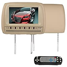 "Ouku Brand New Beige Tan 2PCS Pair 9"" Inch LCD Dual Headrest DVD Player Monitors & Game System Package for Car/Truck/SUV -- Pair of Headrests with Built-In 9"" DVD USB SD VIDEO Monitors, Region Free Dvd Players"