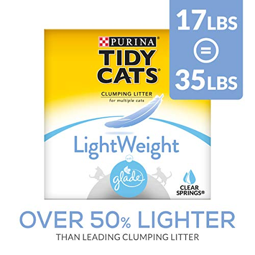 Purina Tidy Cats Light Weight, Dust Free, Clumping Cat Litter, LightWeight Glade Clear Springs Mulit Cat Litter - 17 lb. Box